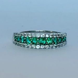 BEN MOSS Crystal and Man Made Emerald Ring